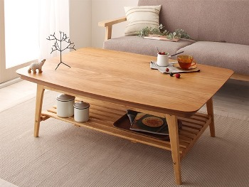 北欧デザイン棚付きこたつテーブル【NOEL】ノエル