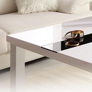 鏡面仕上げおしゃれこたつ アーバンモダンデザインこたつテーブル【VADIT】バディット75×75:ラスターホワイト