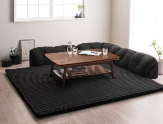 テーブルに合わせるフロアコーナーソファ ブラック