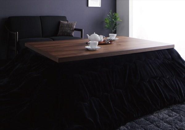 天然木ウォルナット×ブラック バイカラー継脚こたつテーブル Jerome ジェローム
